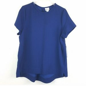 Stylus Navy Thin Short Sleeve High Low Blouse